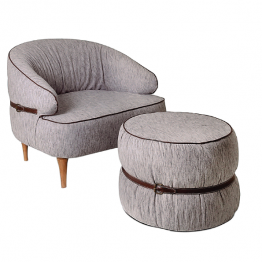 TRIFOLD DESIGN AUDREY LOUNGE CHAIR AND OTTOMAN